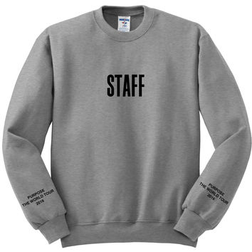 "Justin Bieber ""Staff / Purpose The World Tour 2016 / Purpose Tour"" Gray Crewneck Sweatshirt"