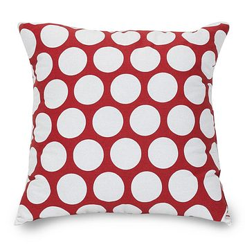 Red Hot Large Polka Dot Large Pillow