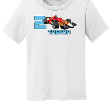 Birthday Shirt for Toddler RaceCar Theme Cute Toddler Tee Shirt with Name and Number Custom Personalize