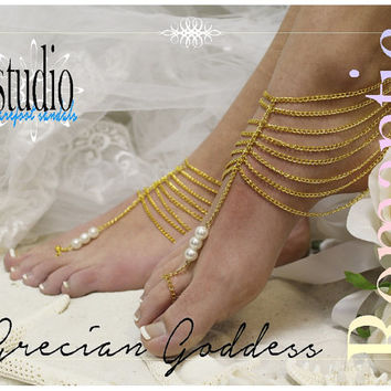 GRECIAN GODDESS Gold womens Barefoot sandals footless sandles anklets beach bridal wedding foot jewelry pearl barefoot sandal studio BF16