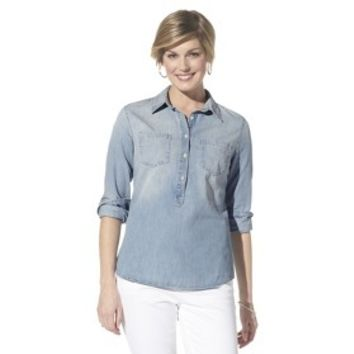Merona® Petites Long-Sleeve Denim Shirt - Blue