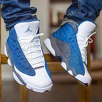 AIR JORDAN AJ 13 men's stitching color casual sports basketball shoes Blue