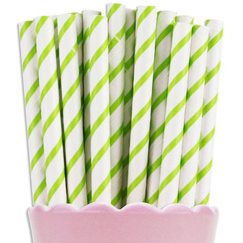 Lime Green Thin Stripe Paper Straws