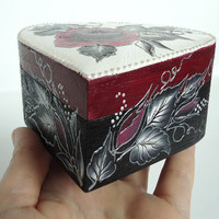100 % Hand Painted Personalized Wedding Ring Holder / Home Decoration / Jewelry Box / Trinket  Box by Elena Joliefleur