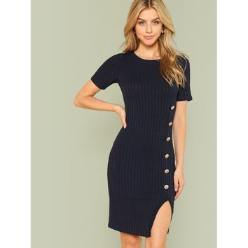 Buttons For Me Dress - Navy