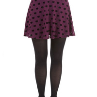 Sugarhill Boutique Cats Short Length A-line Miss Whiskers Skirt in Plum