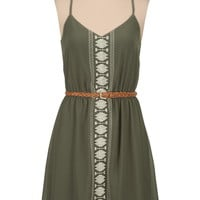Belted embroidered front tank dress