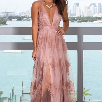 Blush Floral Tulle Maxi Dress with Criss Cross Back