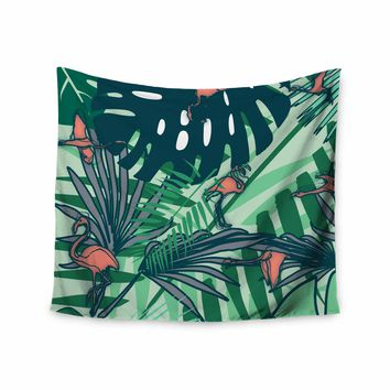 """bruxamagica """"Flamingo And Tropical Leaves"""" Green Coral Animals Nature Illustration Digital Wall Tapestry"""