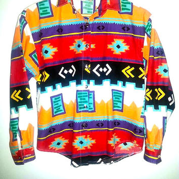 Vintage Southwest South Western Tribal Button Up Shirt Navajo Aztec Shirt - Circle T by Marilyn Lenox  - Size Small