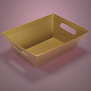 Gold Strong Cardboard Colored Gift Basket Market Trays, 5 pack