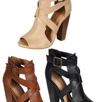 peep toe stacked heel bootie sandals