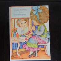 Vintage Unused Happy Birthday Greeting Card For Granddaughter - Little Girl at Her Vanity - By Rust Craft - New Old Stock - Never Used