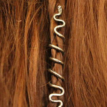Long Snake Hair Bead • Spiral hair coil • Beard jewelry • Viking beard coils • Bead hair accessory • Dreadlock hair accessories