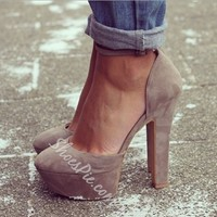 Gorgeous Camel Suede Solid Colour Chunky Heels- Shoespie.com