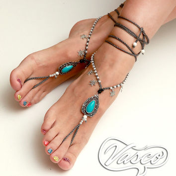 Elegant Barefoot Sandals. Gypsy Bellydance Shoes. Blue Foot Thong