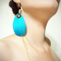 Procass blue feather & Golden brass long earrings.