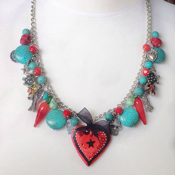 Turquoise and red charm necklace, heart pendant , day of the dead, frida kahlo jewelry, statement necklace, boho chic