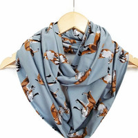 Fox Gray Infinity Cotton Jersey Scarf Fox Scarf Animal Printed Scarf Circle  Scarves, Mother's Day Gift Ideas For Her Women Accessories
