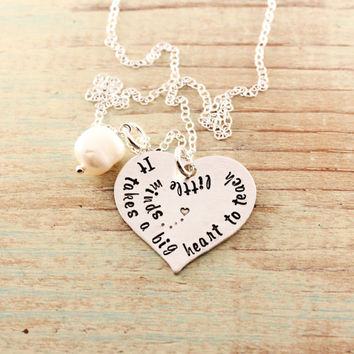 Teacher necklace, Hand stamped jewelry, sterling silver heart, It takes a big heart to teach little minds, Teacher gift