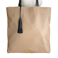 Big & soft leather tote, taupe & black