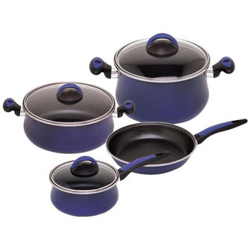 Classic Dark Blue Enamel On Steel 7 Piece, Cookware Set