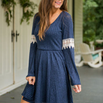 Take Me To Venice Dress, Navy