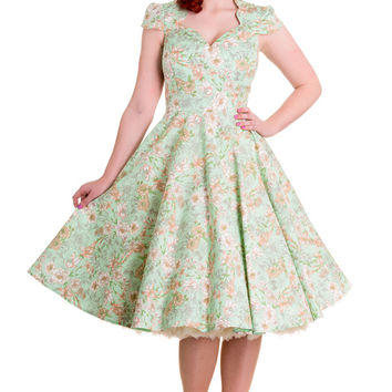 * 50's style dress.* Floral print in green, orange and grey.* Short 'petal' sleeves with pleating at the sleevehead.* Sweetheart neckline with scallop shaping towards the neck.* Seams over the bust to shape bodice.* Waist seam.* Circle skirt.* High back.*