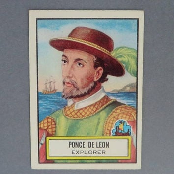 1952 TOPPS Look 'n See Card, Ponce de Leon, Explorer, Card No. 49, Collectors Trading Card