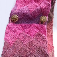 Hand Knit Pink Mix Cowl