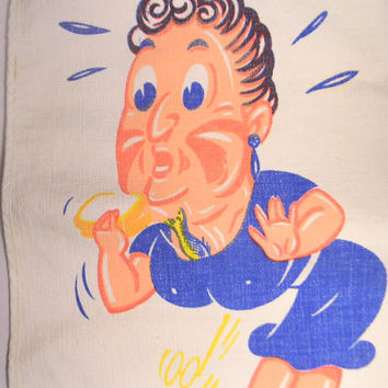 Vintage 50s Baby Bib, Funny Woman With A Slippery Fish, Bright Blue and Peach