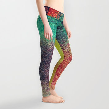 Lady's leggings Active wear Casual wear Stretchable leggings Abstract pattern of oil Color combination