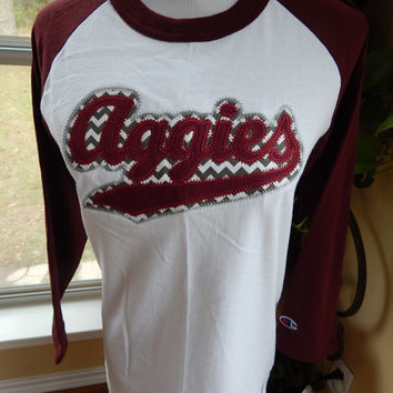 Aggies Appliqued Baseball T-shirt - Small - Ready to Ship