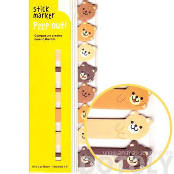 Adorable Teddy Bear Shaped Peep Out Memo Post-it Sticky Tabs from Japan | Cute Affordable Animal Themed Stationery