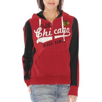 Chicago Blackhawks Womens Red Point After Hoodie