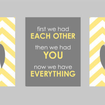 "Yellow and Gray Nursery - Owl Nursery - First We Had Each Other Chevron Owl Nursery - Art for Nursery - Set of three 8""x10"" prints"