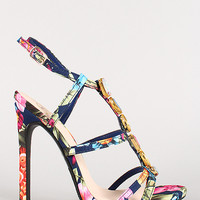 Delicious Floral Jeweled Caged Open Toe Heel