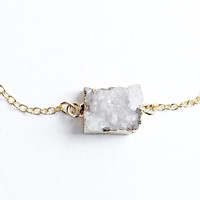 White Druzy Necklace, 18kt Gold Necklace, For Her, Spring Jewelry, Dainty, White, Small Druzy, Square Druzy, Druzy, Ice Druzy, Tiny