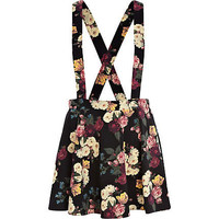 Black floral print dungaree skater skirt