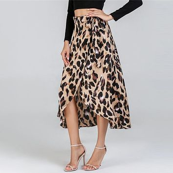 Waist Knot Leopard Print Elegant Skirt Women Clothes Mid-Calf Ladies Skirts Womens Casual Clothing Midi Skirt