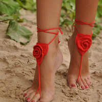 Crochet Barefoot Sandals, Red Rose, Lace shoes, Beach Pool Wear, SEXY