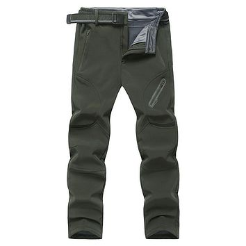 Winter Fleece Pants Men 6XL 7XL 8XL Tactical Pant Militar Camo Soft Shell Windproof Waterproof Warm Paintball Trouser Plus Size