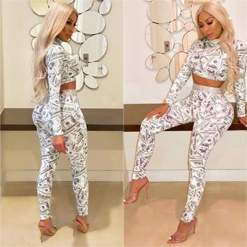 Two-Piece Outfits : Dollar Bill Print Bodycon Crop Top Pants Set