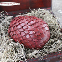 Dragon Egg & Display Chest - Antiqued Burgundy - Mythical Decor, Dragon Lover Gift, Goth, Geeky Gift, Mythical Creature