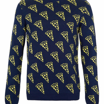 Navy Pizza Slice Sweater - New In - TOPMAN USA