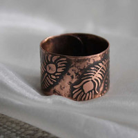 Fire bird feathers ring - Copper ring - Etched ring - Hand sharped ring - Free-size ring - Cuff-ring - Peakock feather ring