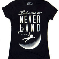 Disney Juniors Take Me To Neverland Peter Pan Moon Juniors T-shirt (Medium, Black)