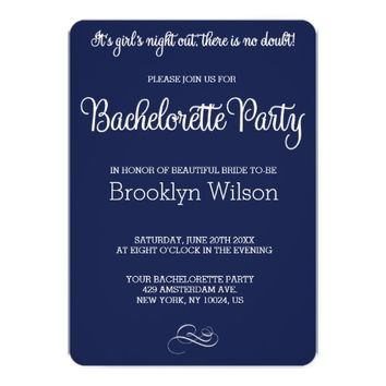 Custom Round Blue Bachelorette Party Invitations