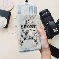 Life is short and the world is wide faux leather Passport holder map passport cover full print passport case wanderlustcover shop