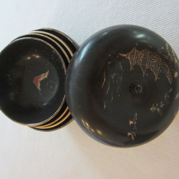 Japanese Lacquered Box Miniature Nesting Bowls
